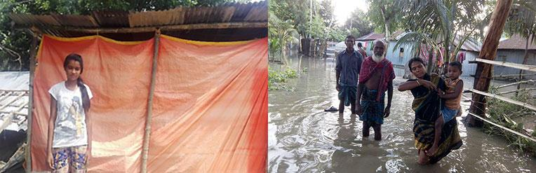 Anita, a flood survivor from Nepal (left) and Bangladeshis (right) wading through flood waters