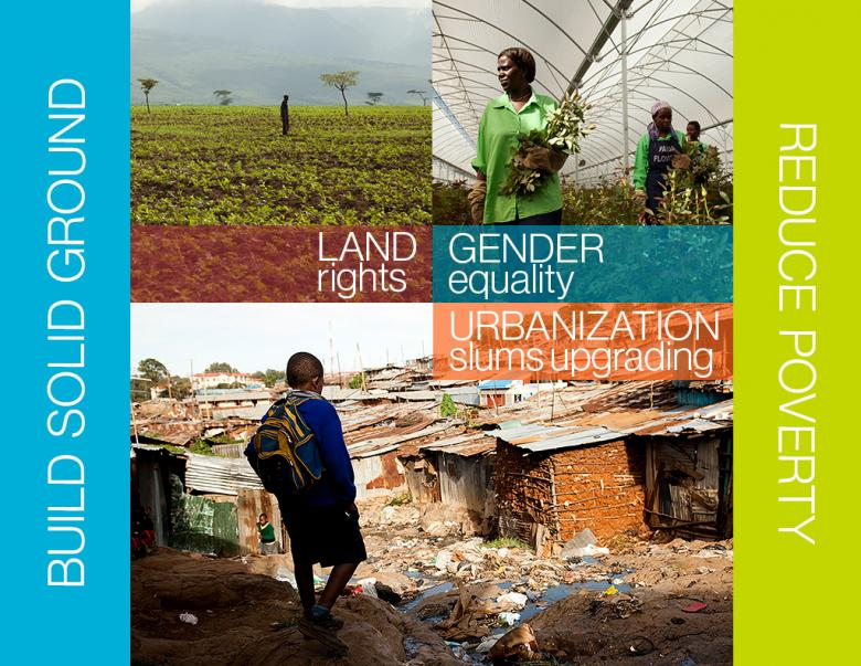 Infographics: the project`s main themes: land rights, gender equality, urbanization and slums upgrading