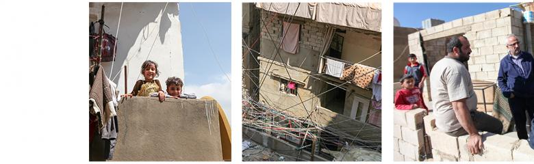 three images for three key areas: upgrading homes, upgrading communities, vocational training