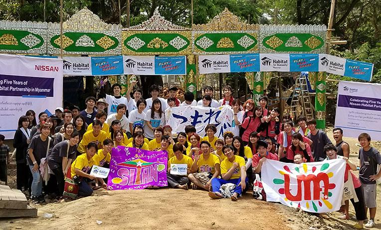 Japanese volunteers at Asia Build in Myanmar