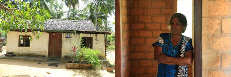 Yogeswary repaired her old house (left) after it was badly damaged during the civil conflict.