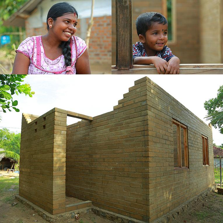 Prema and her son Thisan (top) and their house (below) that is made of compressed stabilized earth blocks.