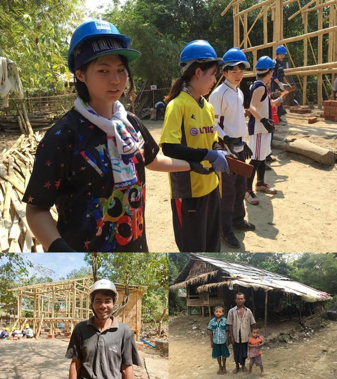 (Clockwise from top) Rino Yoshida (far left) and other Japanese volunteers at Asia Build in Myanmar; future homeowner U Thein Naing and his children in their old house and while his house was being built.