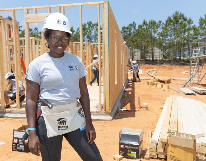 Imani on the build site.
