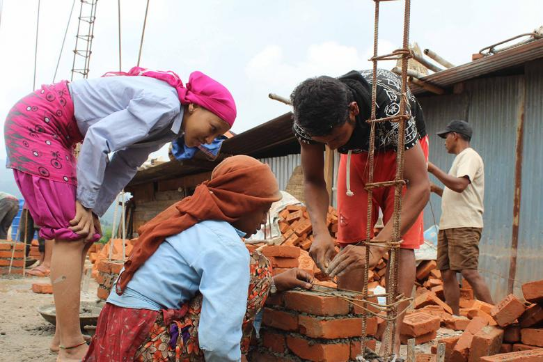 Photo: women learn building resilient houses in Nepal