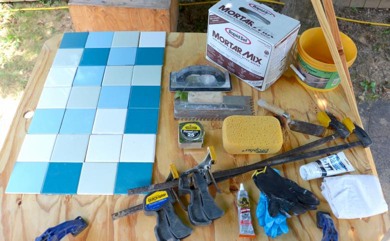 Tile and supplies.