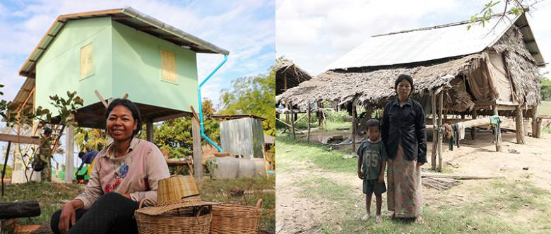(Left) Sai in front of her new house completed during Cambodia Big Build 2019; (right) Sai and her child outside their old house.