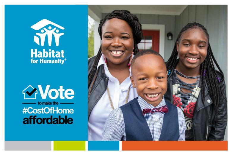 A postcard encouraging supporters to vote to make the cost of home affordable.