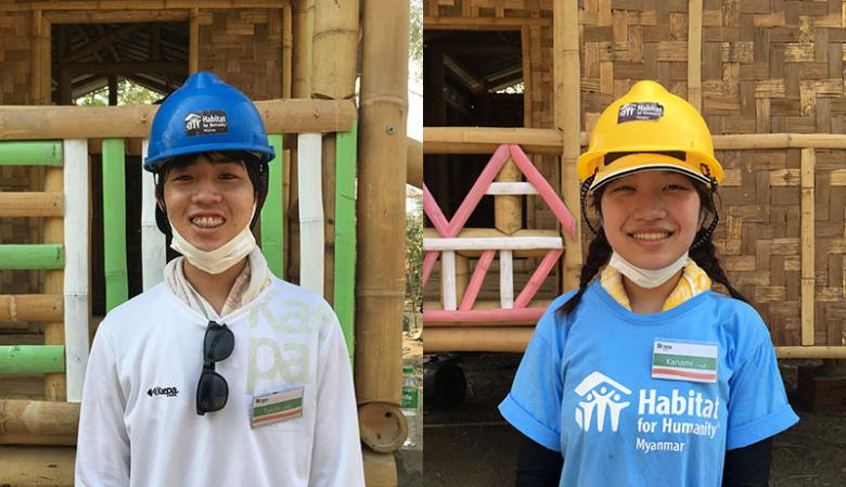 Taichi Kuroiwa (left) and Kanami Takemoto (right) were among 14 Japanese students volunteering during Asia Build in Myanmar