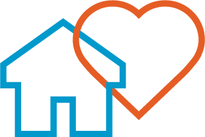 Interlinked house and heart icons