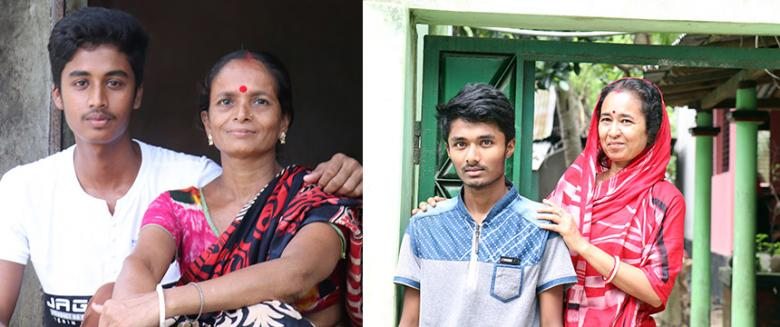 (Left) Dipu with his mother Joyantee; (right) Prangon with his mother Kamona