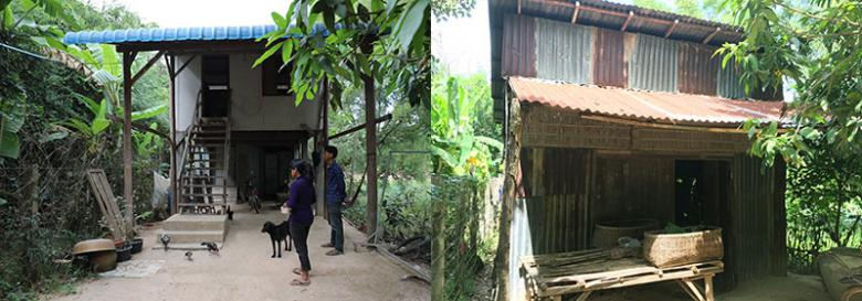 (Left) Kimchheng and her son Tibe in front of their Habitat house; (right) their old house that leaked during heavy rains