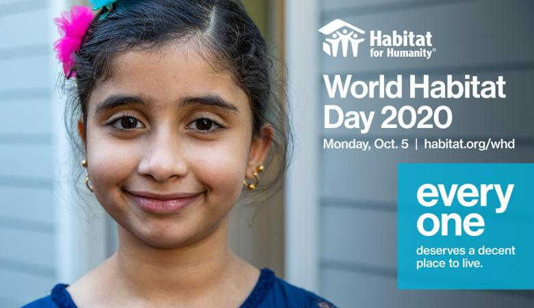image of young girl with with flower in her hair with text World Habitat Day 2020 Oct. 5