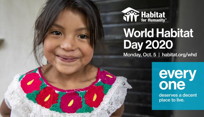image of young girl in red and white dress with text World Habitat Day 2020 Oct. 5