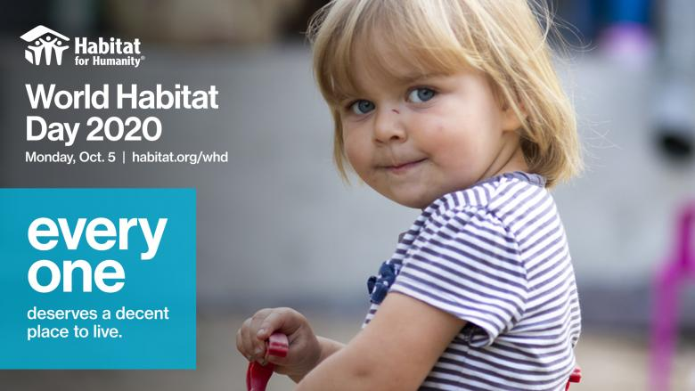 image of small child in striped shirt with text World Habitat Day 2020 Oct. 5
