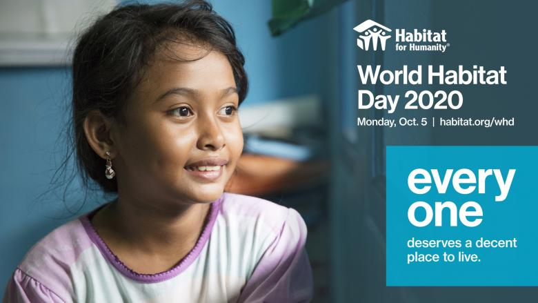 image of young girl in purple shirt with text World Habitat Day 2020 Oct. 5