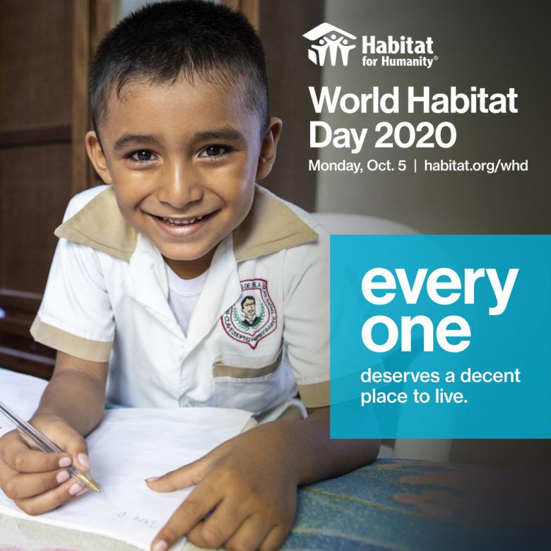 image of young boy doing homework with text World Habitat Day 2020 Oct. 5