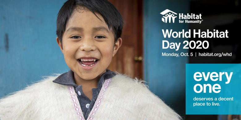 image of young boy in white poncho with text World Habitat Day 2020 Oct. 5