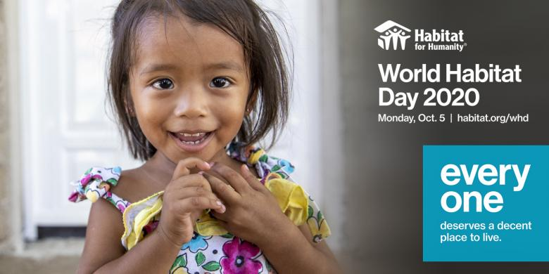 image of young girl in colorful dress with text World Habitat Day 2020 Oct. 5