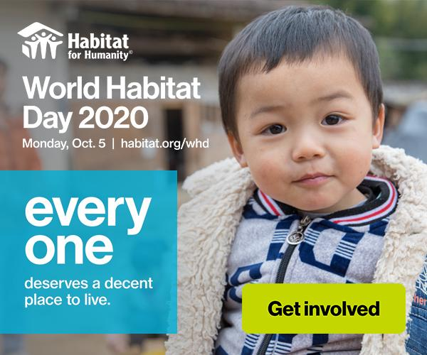 image of toddler boy with text World Habitat Day 2020 Oct. 5
