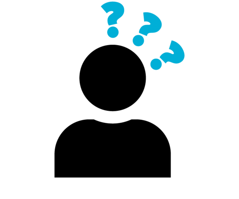 Icon of a person with question marks above their head.