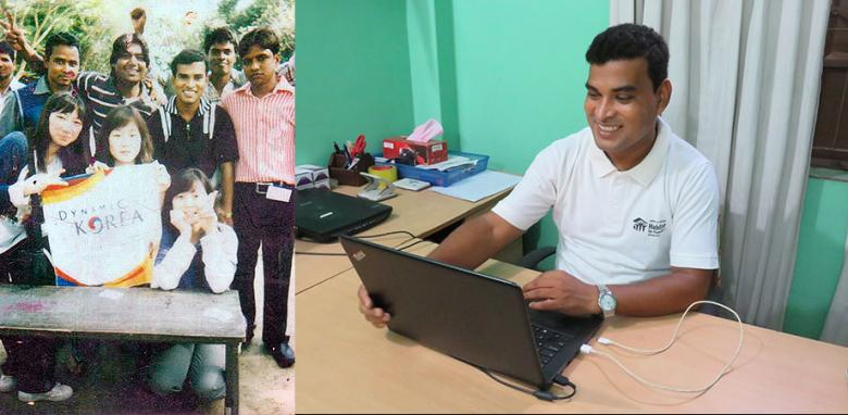 Ashish with Global Village volunteers over a decade ago and working in the office.