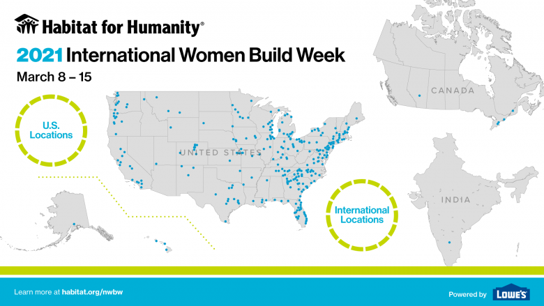 Map showing many dots on a U.S. map, 5 in Candada and 1 in India indicating the more than 300 Habitat locations participating in International Women Build Week.