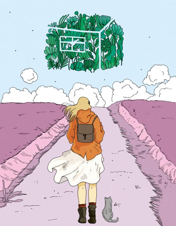 Digital art of a woman wearing a backpack and standing with her cat, looking down a path at a dream-like house made of flowers in the sky.