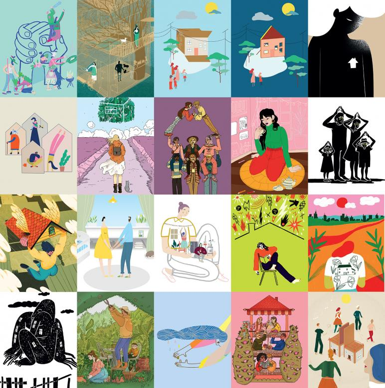 Image collage of 20 digital posters depicting various housing-related art.